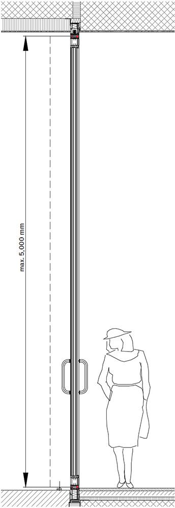 Pivotové vchodové dveře-Svislý řez