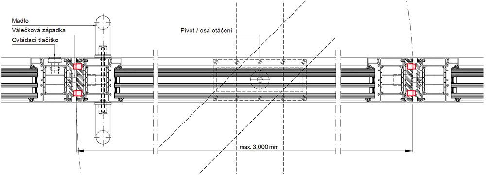 Pivotové vchodové dveře-Vodorovný řez