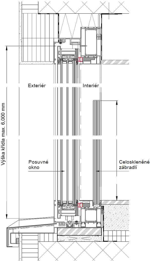 Bezrámová posuvná okna-Svislý řez / ochrana proti pádu