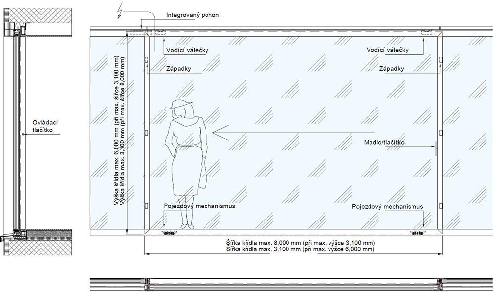 Bezrámová posuvná okna-Svislý řez / pohled